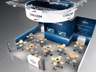 Agencement visuel du stand de CMA-CGM